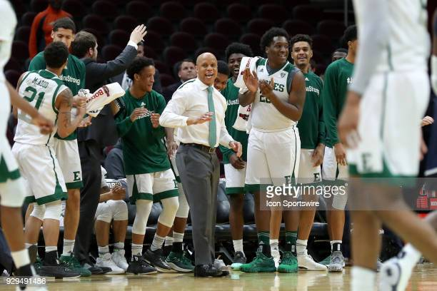 ohiohc celebrates with his bench as the final seconds tick off the clock during the second half of the MAC Mens Basketball Tournament Quarterfinal...