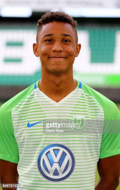 Ohis Felix Uduokhai of VfL Wolfsburg poses during the team presentation at on September 13 2017 in Wolfsburg Germany