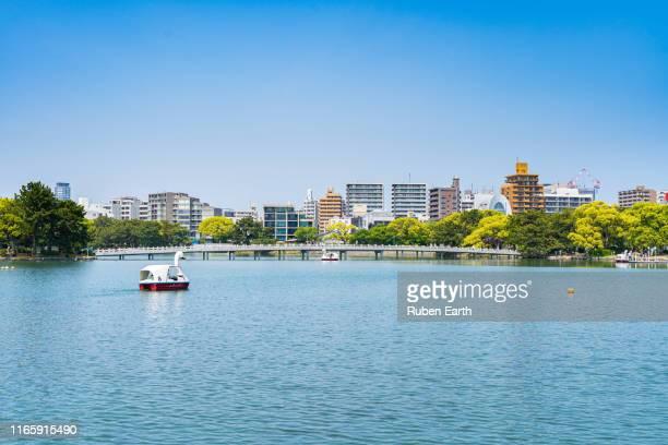 ohori park and fukuoka city - fukuoka prefecture stock pictures, royalty-free photos & images