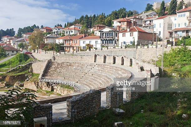 ohrid, macedonia - amphitheatre stock photos and pictures