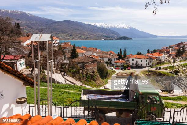 ohrid old town - lake ohrid stock photos and pictures
