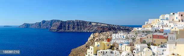 Oia ,サントリーニ,ギリシャのパノラマに広がる