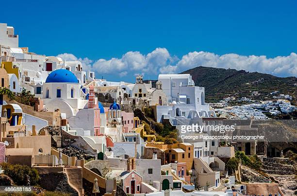 oia santorini - the slants stock pictures, royalty-free photos & images