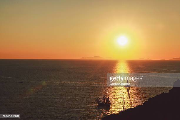 oia sunset - bortes stock photos and pictures