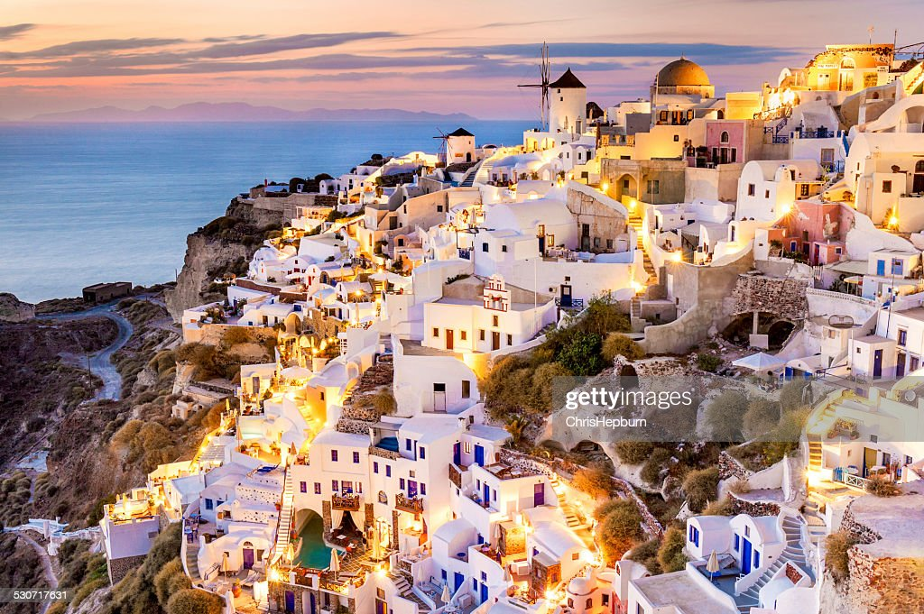 Coucher de soleil d'Oia, Santorin, Grèce : Photo