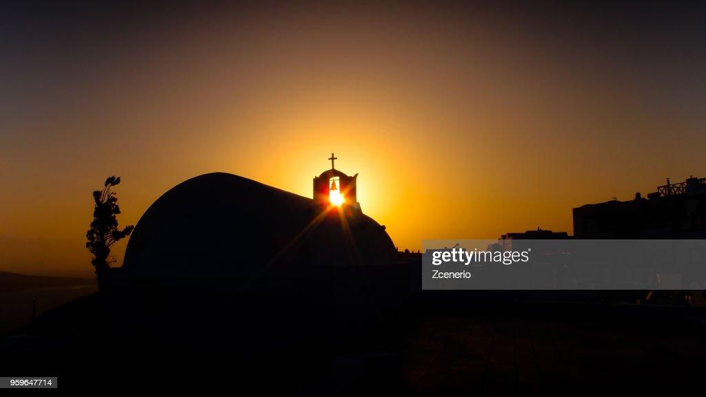 Oia village during sunset on Santorini island, Aegean sea, Mediterranean, Greece : Stock-Foto