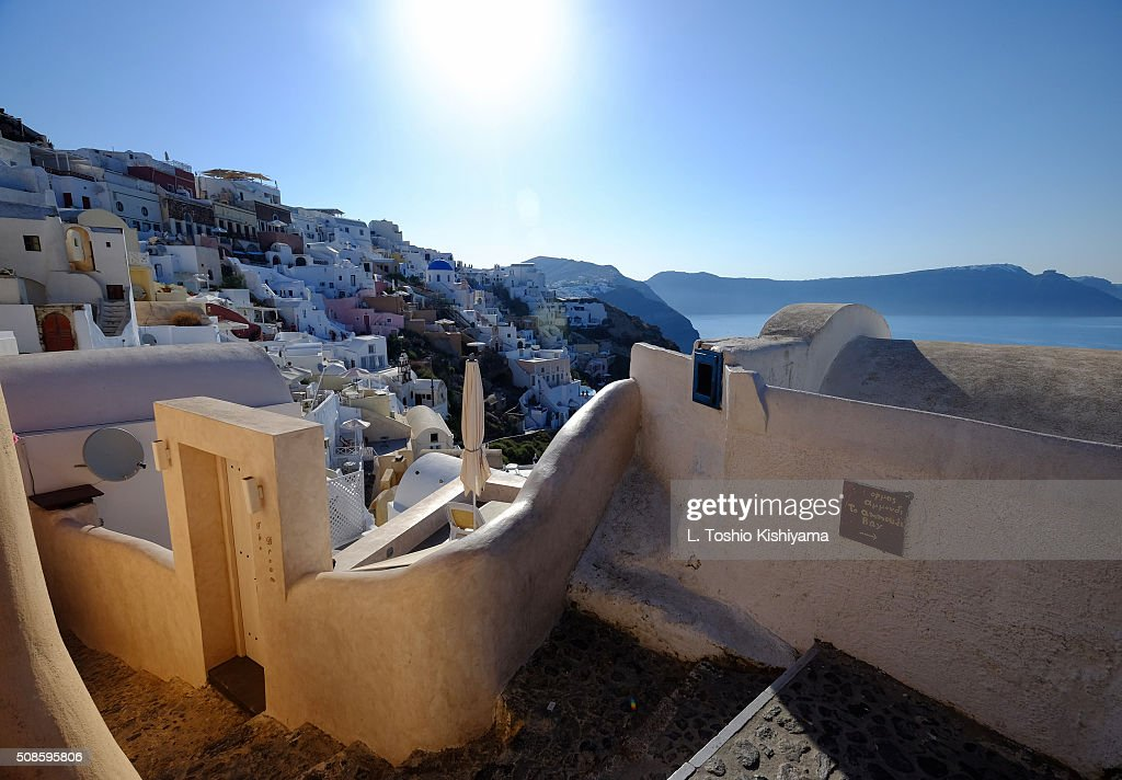 Oia Village view in Santorini, Greece : Stock Photo
