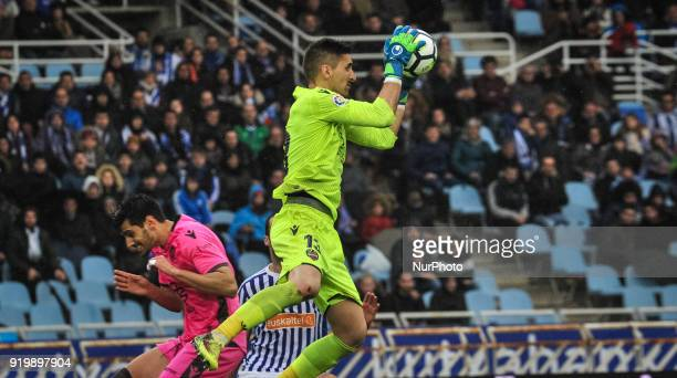 Oier of Levante during the Spanish league football match between Real Sociedad and Levante at the Anoeta Stadium on 18 February 2018 in San Sebastian...
