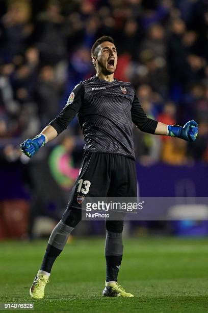 Oier of Levante UD celebrates a goal during the La Liga game between Levante UD and Real Madrid CF at Ciutat de Valencia on February 3 2018 in...