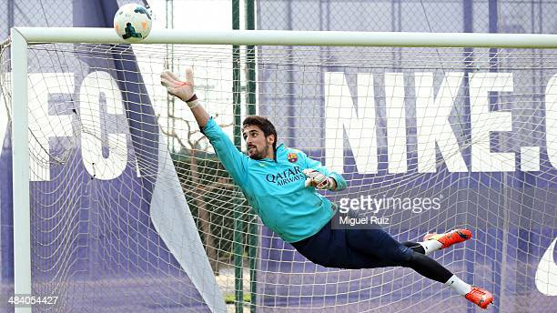 Oier Olazabal of FC Barcelona tries to save the ball during the training session at Ciutat Esportiva on April 11 2014 in Barcelona Spain