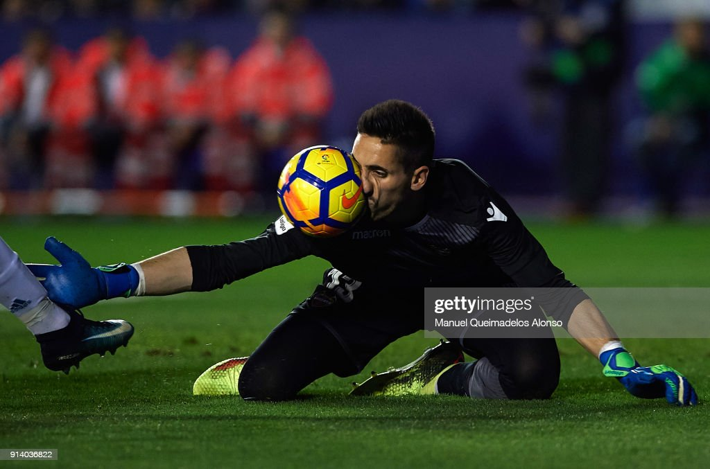 Oier Olazabal of Levante in action during the La Liga match between Levante and Real Madrid at Ciutat de Valencia on February 3, 2018 in Valencia, Spain.