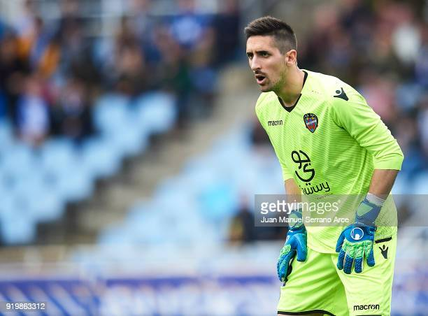 Oier Olazabal of Levante UD looks on during the La Liga match between Real Sociedad and Levante at Estadio de Anoeta on February 18 2018 in San...