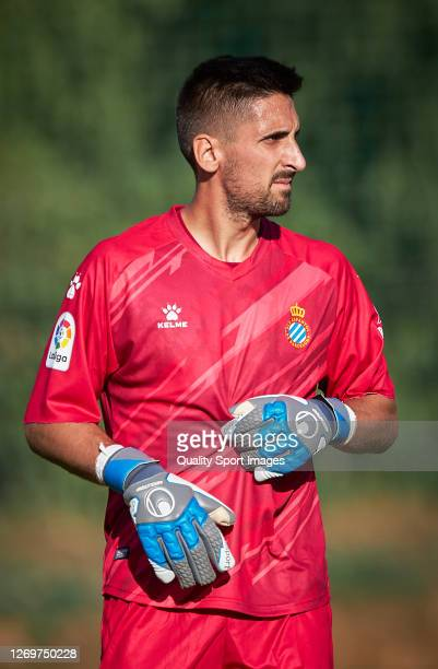 Oier Olazabal of RCD Espanyol looks on during a pre season friendly match between Cadiz CF and RCD Espanyol at Marbella Football Center on August 30...