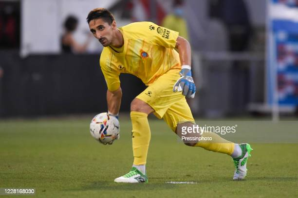 Oier Olazábal of RCD Espanyol during the pre season friendly match between RCD Espanyol and SD Huesca at Dani Harque Stadium on August 22 2020 in...