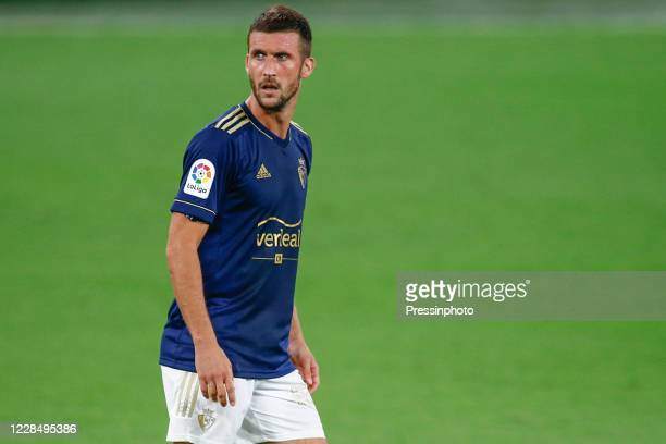 Oier Sanjurjo of CA Osasuna during the La Liga match between Cadiz CF and CA Osasuna played at Ramon de Carranza Stadium on September 12 2020 in...