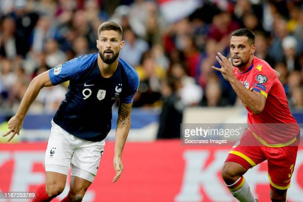 OIivier Giroud of France, Marc Vales of Andorra during the EURO Qualifier match between France v Andorra at the Stade de France on September 10, 2019...
