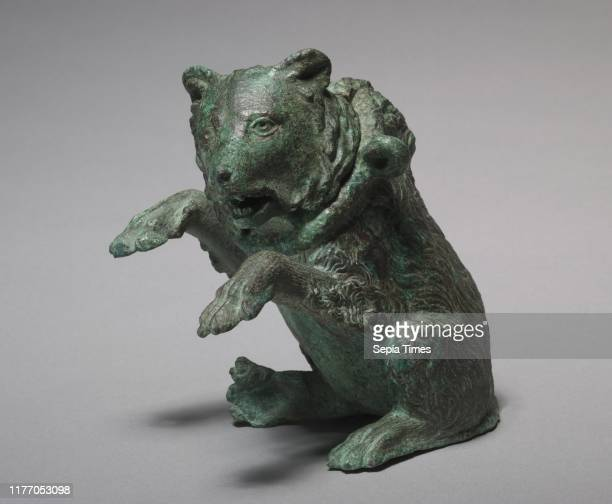 Oil Ampula in the Form of a Dancing Bear 200s Italy Roman 3rd century Bronze overall 146 x 104 x 95 cm