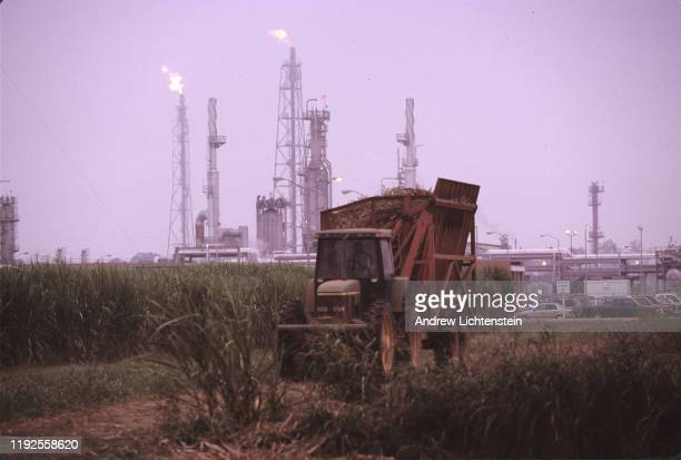 Oil and chemical refinery plants cover the landscape, next to African American communities along the Mississippi River, October near Baton Rouge,...