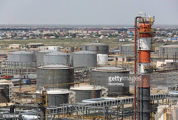 Oil and fuel storage tanks stand at the Atyrau oil refinery operated by KazMunaiGas National Co in Atyrau Kazakhstan on Thursday July 2 2015...