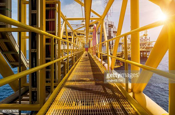 Oil and gas industrial platform walk way.