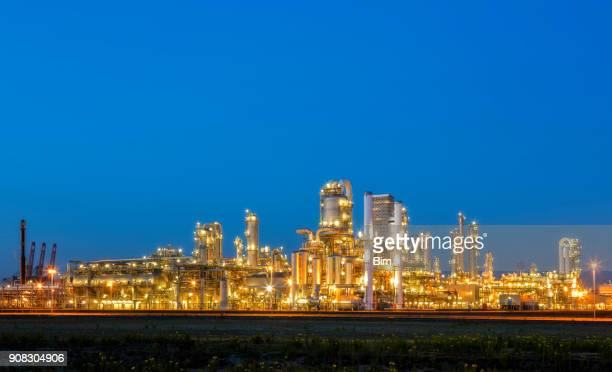 Oil and gas industry, refinery at dusk