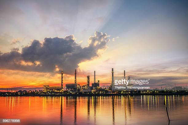 Oil and gas industry - refinery at Sunrise - factory - petrochemical plant