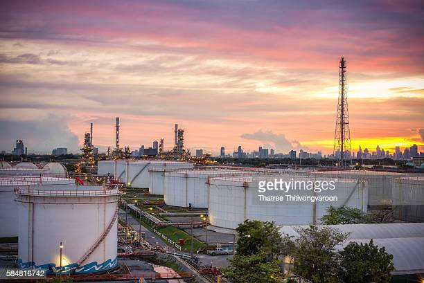 Oil and gas industry - refinery at sunset