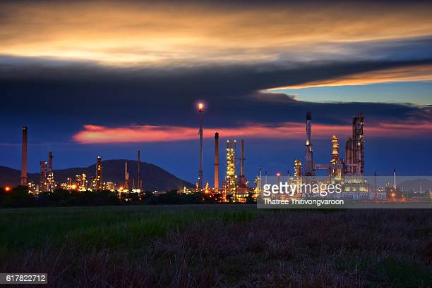 Oil and gas industry - refinery factory - petrochemical plant at twillight