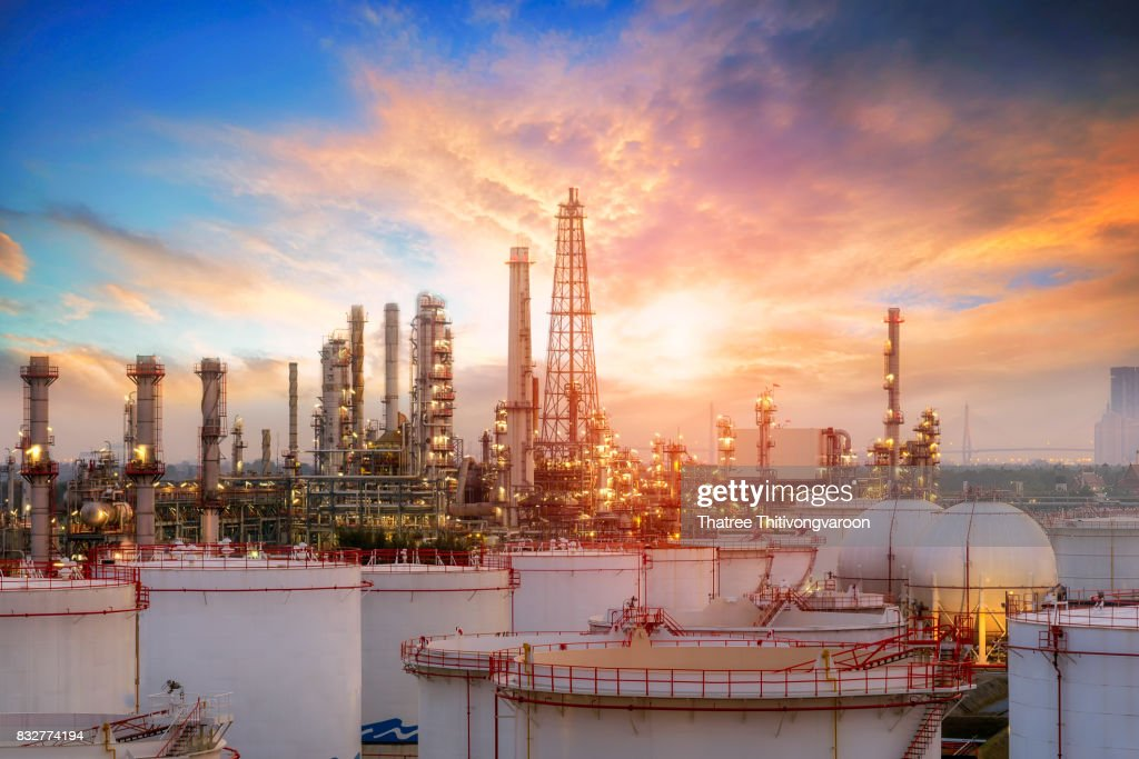 Oil and gas industry - refinery factory - petrochemical plant : Stock Photo