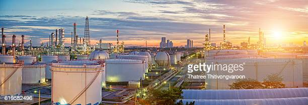 Oil and gas industry - refinery factory - petrochemical plant wuth panorama
