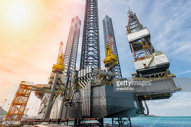 Oil and gas jack up drilling rig in the ocean sea from oil and gas industrial petroleum. Yhis rig is Jack up rig type.