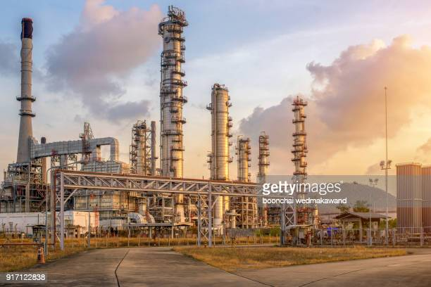 oil and gas refinery industry factory at sunset - refinery stock pictures, royalty-free photos & images