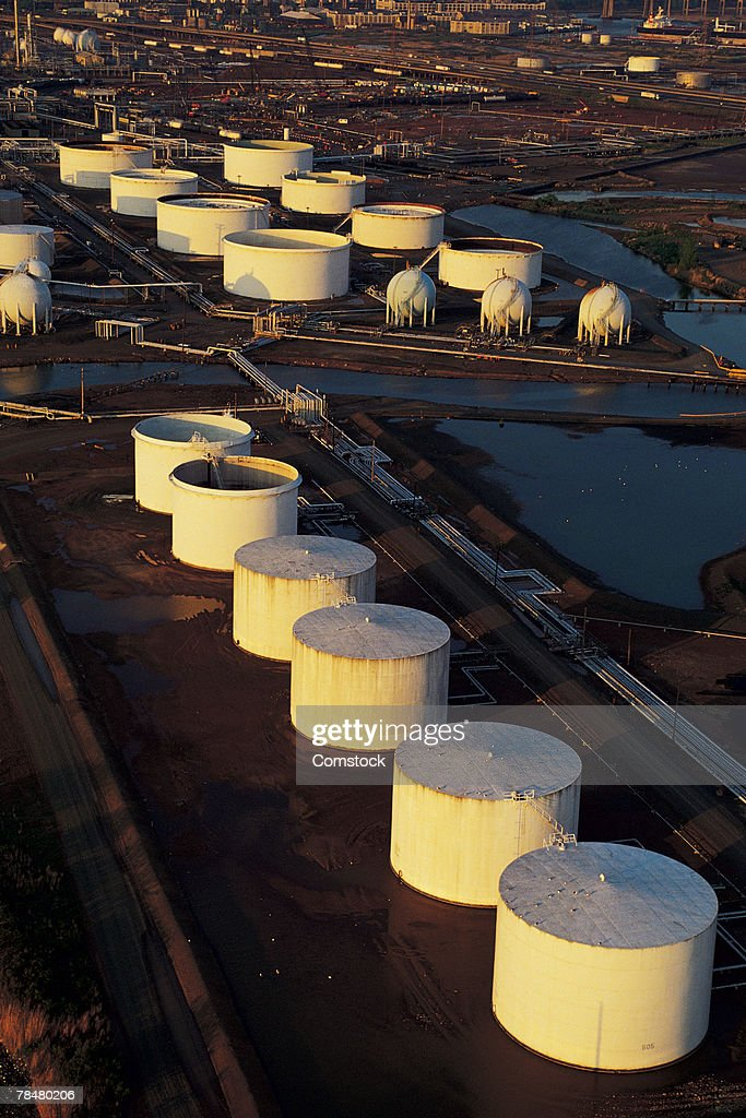 Oil And Gas Storage Tanks , Linden , NJ , USA; Aerial View