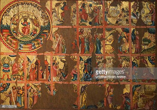 Oil and gold leaf triptych with scenes from the apocalypse by Master Betram a German International Gothic painter Dated 14th Century