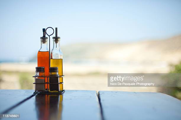 Oil and vinegar on a table