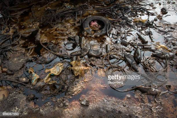 Oil and waste sits below a pumpjack in Baku Azerbaijan on Sunday March 18 2018 Two years after descending into junk Azerbaijan's shortest path to...