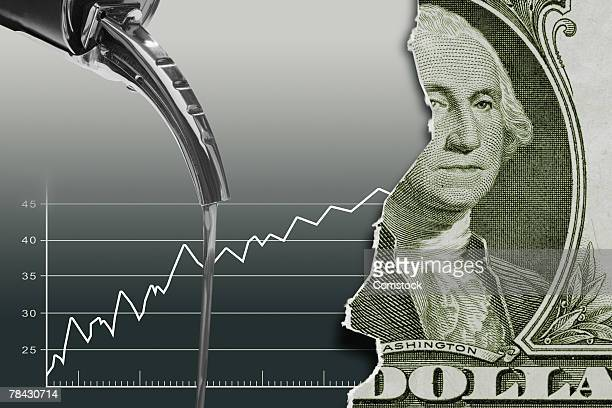 oil can and graph with american dollar - oil prices stock pictures, royalty-free photos & images