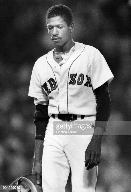 Oil Can Boyd walks off the field after he was taken out of the game against the Chicago White Sox at Fenway Park in Boston July 30 1985