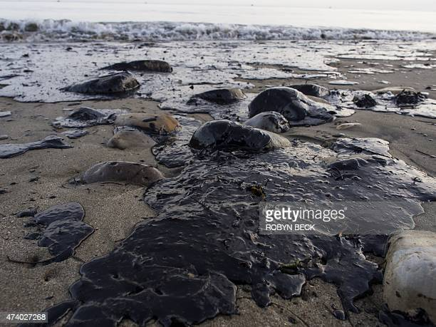 Oil covers rocks and sand at Refugio State Beach in Goleta California May 19 2015 An oil pipeline ruptured dumping oil into the Pacific Ocean near...