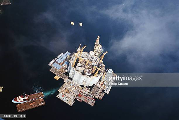 Oil drilling platform construction, aerial view