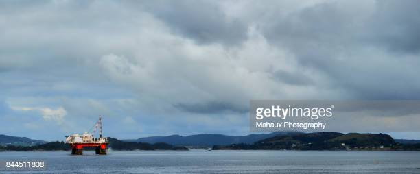 Oil drilling platform on sea near the harbour of Stavanger.