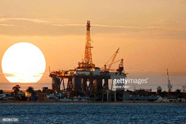 oil drilling platform  - walvis bay stock photos and pictures
