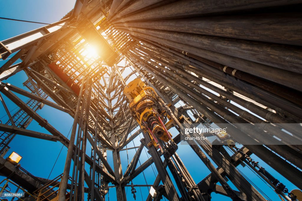 Oil drilling rig operation on the oil platform in oil and gas industry. Industrial concept. : Stock Photo