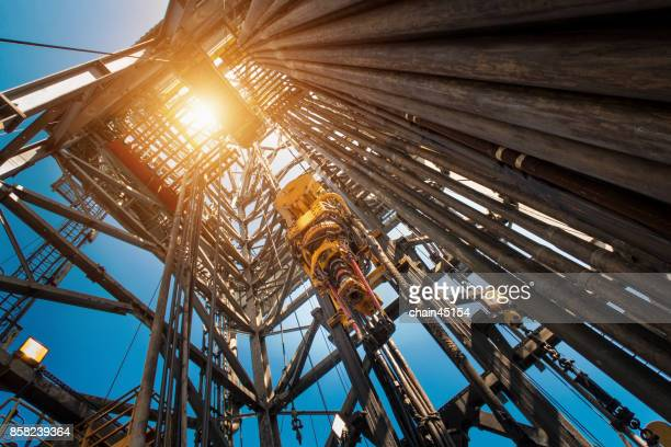 oil drilling rig operation on the oil platform in oil and gas industry. industrial concept. - oil stock pictures, royalty-free photos & images