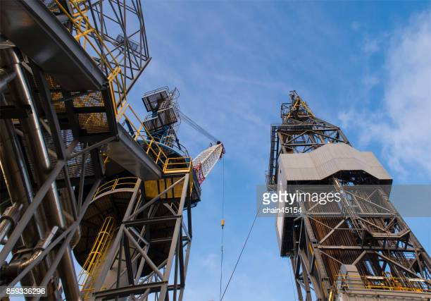 oil drilling rig operation on the oil platform in oil and gas industry. industrial concept. - fracking stock pictures, royalty-free photos & images