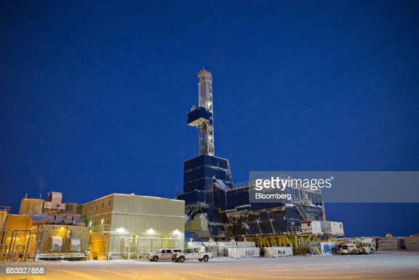 A oil drilling rig stands at the Caelus Energy LLC Oooguruk Development Project in Harrison Bay Alaska US on Friday Feb 17 2017 Four decades after...
