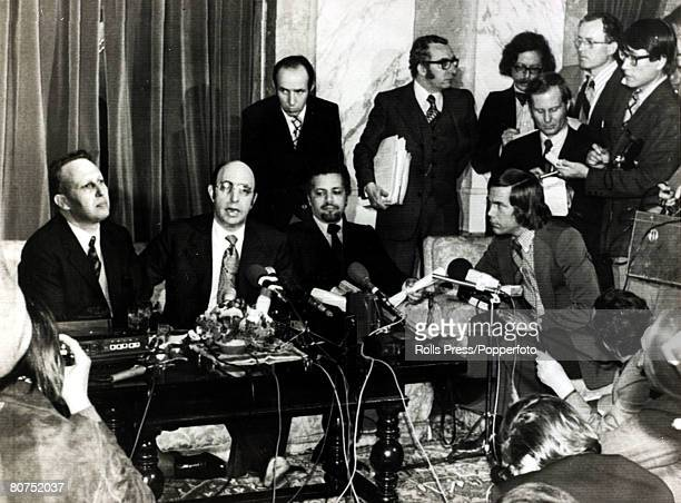 Oil Embargo 17th March 1974 Vienna Austria Algeria's Oil Minister Belaid Abdesselam and other Ministers announcing the lifting of the 5 month old oil...