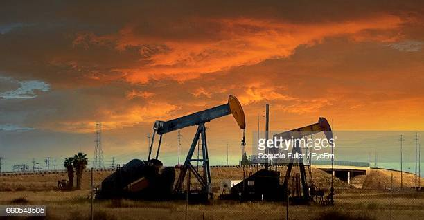 Oil Field Against Clouds