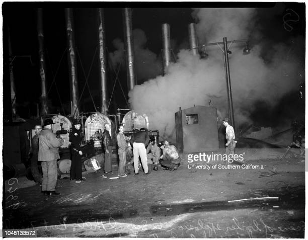 Oil field boiler explosion , 15 October 1951. D Bert French -- 63 years ;General view of scene of explosion, California Avenue and Thirty-Second...