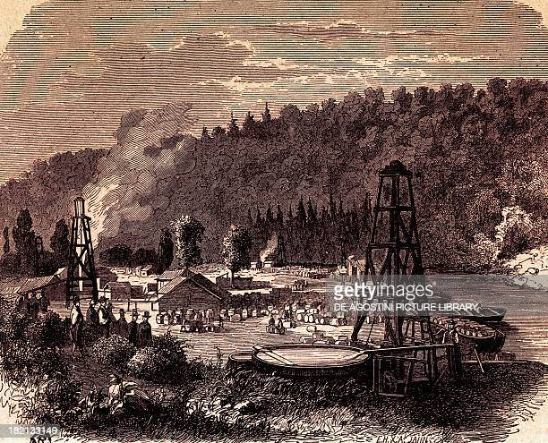 Oil fields in Titusville in Pennsylvania with the first well Derrick invented by Edwin Laurentine Drake in 1859 engraving United States 19th century